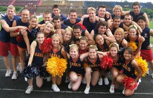 Large Group of Co-ed Cheerleaders