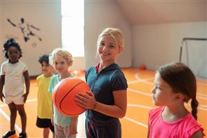 Children playing basketball in the gym