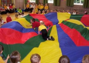 Group Playing with Parachute